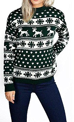 Donne Reindeer Fiocco di neve Bambini Xmas Madre Figlia Figlia 3-13 anni Jumper Top Dimensione 8-26 Verde