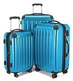 HAUPTSTADTKOFFER Alex - NEU 4 Doppel-Rollen 3er Trolley-Set Rollkoffer Reisekoffer, (S, M und L) Koffer-Set, 75 cm, 235 L, Cyanblau