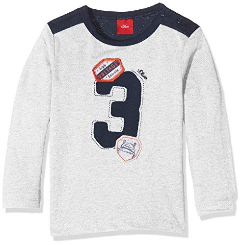 s.Oliver Baby - Jungen Spieler T - SHIRT LANGARM 65.707.31.7154, Einfarbig, Gr. 80, Weiß (White Melange)