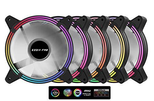 Frame-sync (EZDIY-FAB 5-Pack 120mm Dual Frame RGB PWM Lüfter für PC Gehäuse, adressierbarer RGB Gehäuselüfter mit Lüfternaben, CPU Lüfter, 5V ARGB 3pin Motherboard Sync, Kompatibel mit ASUS Aura Sync)