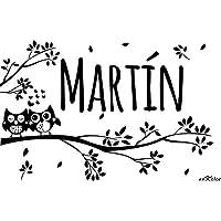 Enkolor/Vinilos Nombres Personalizados/Infantil/Ramas y búhos/Pegatinas pared