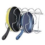 mDesign Pfannenhalter – Küchenaufbewahrung für 28 cm Pfannen – auch zur Topfdeckel Aufbewahrung geeignet – verchromtes Metall - 4