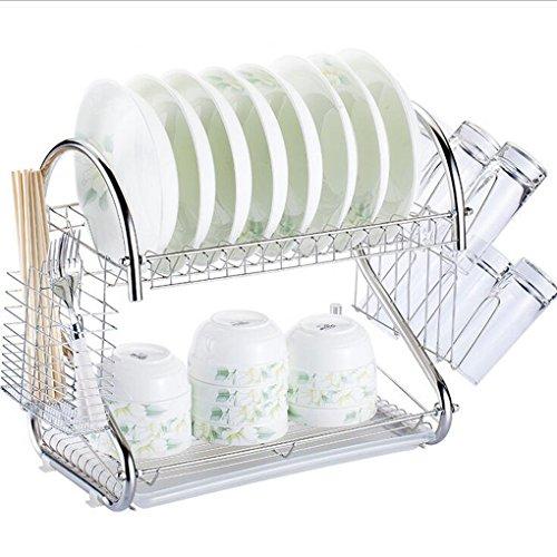 Acier Inoxydable Plat À Vaisselle Cuisine Utilisation Quotidienne Tablette Double Couche Panier À Vaisselle Simple Metal Égouttoir 43 * 25 * 37.6Cm,A