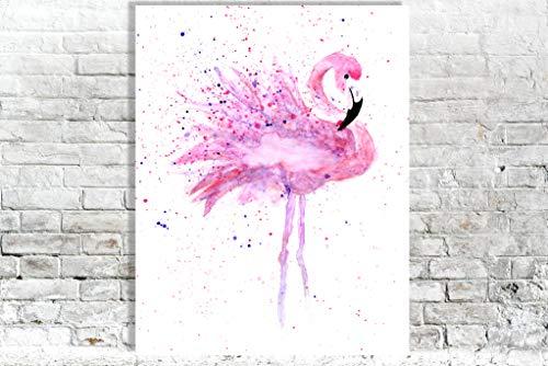 Rosa Flamingo Wandkunst Malerei Aquarell tropischer Tier druck - Badezimmer Asiatische