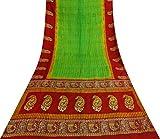 Vintage Indische Reine Seide Grün Sari Blumen Ethnic Craft
