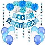 Hochwertiges Geburtstagsdeko / Kindergeburtstag Deko Jungen / Geburtstag Dekoration Set. Happy Birthday Wimpelgirlande,8 Blumenpuscheln,6 Meter Girlande mit Sternen,12 Ballons Blau Weiß Türkis