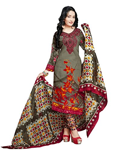 Rajnandini Women's Cotton Printed Churidar Unstitched Dress Material(JOPLVSM2013_Olive Green_Free Size)