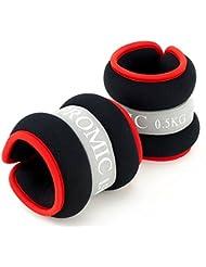 Promic 2er Set Ankle Weights, 2x 0,5kg – 2x 2kg Neopren Gewichtsmanschetten für Handgelenke und Fußgelenke,Gewichtheben für Reha und Krafttrainging, Schwarz/Grau/Rot