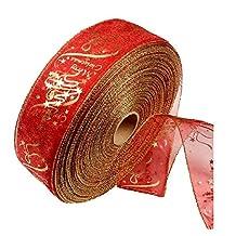 lumanuby impresión flores cinta de encaje rojo árbol de Navidad cintas para día de Navidad boda