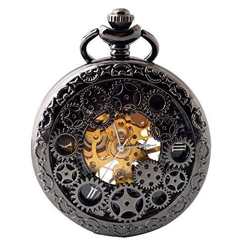 chenuhr mit Kette, Steampunk-Uhr, römische Ziffern, mechanische Skelett-Taschenuhr für Herren ()