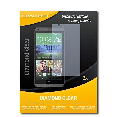 SWIDO 2 x Bildschirmschutzfolie HTC Desire 816 Dual SIM Schutzfolie Folie DiamondClear unsichtbar