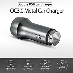 DENUXON USB Car Charger 48W Dual Quick Charge 3.0 Smart Detect Utra-Fast Universal Charging Adapter for Galaxy S