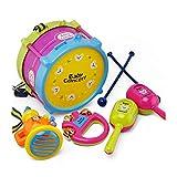 Newin Star Juego 5pcs del bebé Instrumentos Musicales Juguetes Colorido Mini los Instrumentos Musicales de Jazz Tambores Set de percusión Juega al bebé Ilustración (Martillo de la Arena, Rattle,