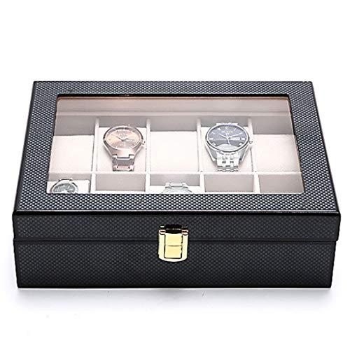QLL003 Uhrenhuette Uhrenbox Aus Kohlefaser für 10 Uhren Mit Abnehmbaren Uhrenkissen, Uhrenkasten Uhrenvitrine Uhrenaufbewahrung (Color : Black)