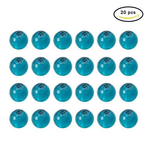 PandaHall - Lot de 20 Perles Rondes en Verre Turquoise et Feuille d'Argent 10mm