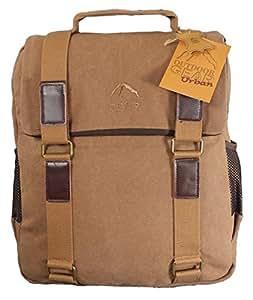 Toile et cuir sac à dos brun hommes sac d'ordinateur portable sac à dos. Canvas Rucksack.