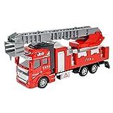 Liying 1:48 Diecast Modell LKW Spielzeug Baufahrzeug Pull-back and Go Friction Kunststoff Auto Spielzeugauto Geschenk für Kinder Junge Feuerwehrauto Feuerwehrdrehleiter Rot
