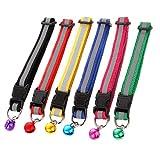 Efanty Hund Katze Halsband, 6 Stück Verstellbar Reflektierend Katzenhalsband mit Glocke, Halsbänder für Hauskatzen, Kleine Hunde (Länge: 19cm–32cm)