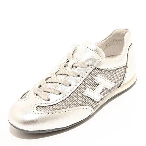 95258 sneaker HOGAN JUNIOR OLYMPIA LACE UP H FLOCK scarpa bimba shoes kids Argento