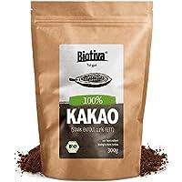 Bio Kakao Pulver (300g) - 100% reines Kakaopulver stark entölt (11% Fett) - ohne Zucker - ohne Zusatzstoffe - hochwertigste Biotiva Qualität - Abgefüllt und kontrolliert in Deutschland (DE-ÖKO-005)