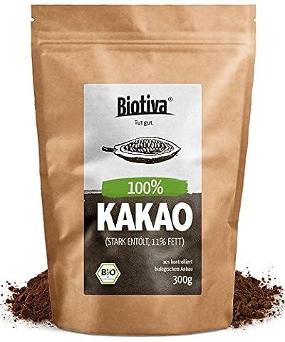Bio-Kakao Pulver (300g) | 100% reines Kakaopulver | stark entölt (11% Fett) | im wiederverschließbaren Frischebeutel I ohne Zusatzstoffe - hochwertigste Biotiva®