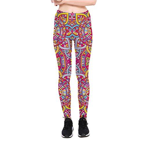 Frauen Leggins Mandala Drucken Dehnbar Casual Dünn Leggings Hosen XL
