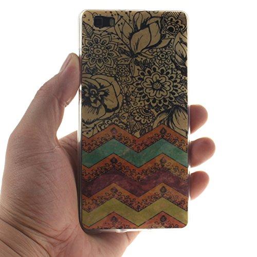 Qiaogle Téléphone Coque - Soft TPU Silicone Housse Coque Etui Case Cover pour Apple iPhone 6 Plus / iPhone 6S Plus (5.5 Pouce) - TX34 / Cute Panda TX48 / Noir Fleur + vague