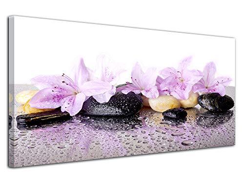 Declina, Tableau décoratif, Toile Murale, Tableau Salon Deco,Cadre Mural Deco Zen Fleurs et Galet 100x50 cm Rose