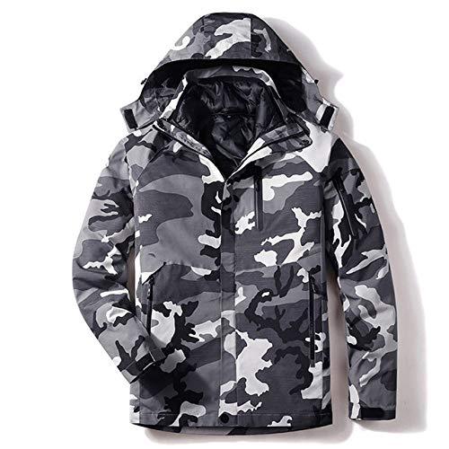 AXIANNV Snowboardjacke Herren, Winter warm Winddicht wasserdicht, Outdoor Sport Schnee Jacken und Hosen Skiausrüstung, Camouflage grau, L