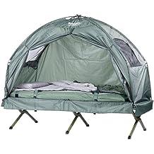 Semptec Urban Survival Technology Feldbett Zelte: 4in1-Zelt inklusive Schlafsack, Matratze & Campingliege, wasserdicht (Zelt auf Stelzen)