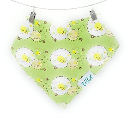 tilix Baby Halstuch Dreieckstuch Sabbertuch Lätzchen, doppellagig super saugfähig für Mädchen und Jungen (Biene)