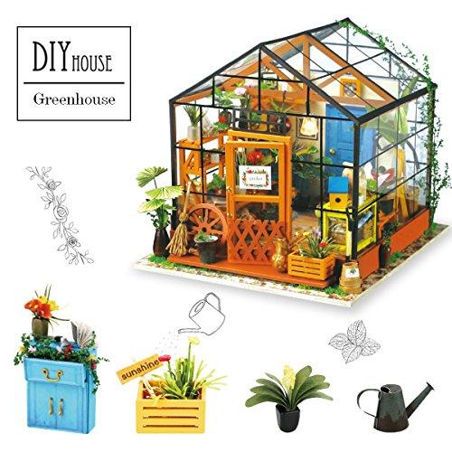 Robotime Wooden DIY Green House - Dolls Houses Model Kits Furniture Renovation - Woodcraft Construction Kit - Educational Toys, Mini Diorama Handmade Miniature House with Lights and Accessories-Flower House for Boys and Girls to Play - Creative Birthday C