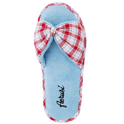Aerusi Femme Cozy Slide Pantoufles Peluches Ultra Légers Doux Souple Pour Maison / Intérieur Rouge/Bleu