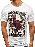 BOLF Herren T-Shirt mit Aufdruck Rundhalsausschnitt Motiv Casual Style FARO 006 Weiß L [3C3]
