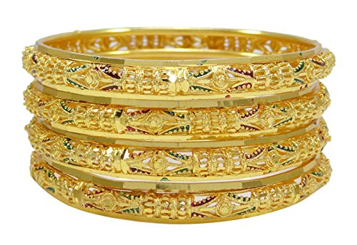 Banithani Ethnische Bollywood Designer Vergoldet Kada Armbänder 4 PC-Armband-Set Schmuck 2 * 8