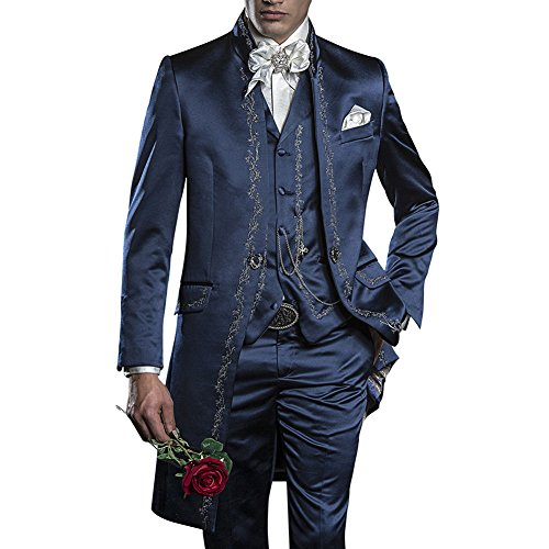 GEORGE BRIDE Herren Anzug 3-Teilig Anzug Sakko,Weste,Anzug Hose,007 (XL, Blau)