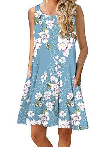 OMZIN Damen Kleid Große Größe Loose Shirtkleid Vestkleid Basic Trägershirt mit Taschen,Blau,S -