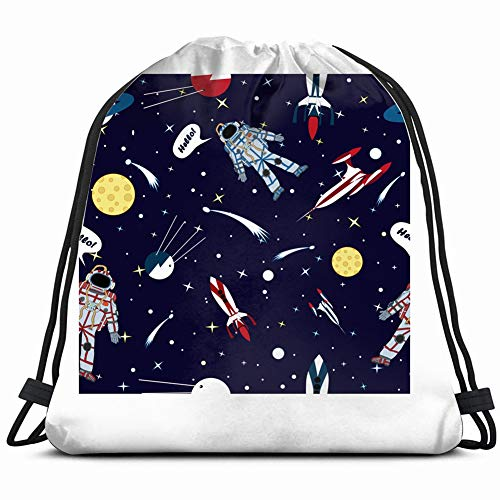 fjfjfdjk Drawing Astronaut Space Science Drawstring Backpack Gym Sack Lightweight Bag Water Resistant Gym Backpack for Women&Men for Sports,Travelling,Hiking,Camping,Shopping Yoga Digital-message-system