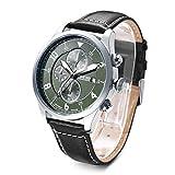 Time100 Multifunktionale Lederarmband Uhr Quarzwerk Armbanduhr Männer Mode Wasserdichte Runde Armbanduhr(Grün,63.7g)