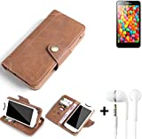 K-S-Trade® Schutzhülle für Hisense HS-U971AE Hülle Tasche Handyhülle Handytasche Wallet Flipcase Cover Handy Tasche Kunsteleder Braun Inkl. in Ear Headphones