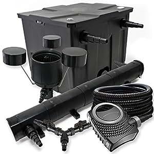 Filter Set für 12000l Teich 72W Teichklärer NEO8000 70W Pumpe 25m Schlauch Skimmer CSP250