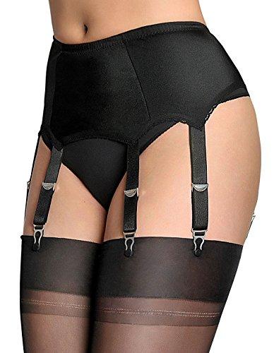 1fb34fd5590 Nylon Dreams NDL2 Women s Black Solid Colour Garter Belt 6 Strap Suspender  Belt Small