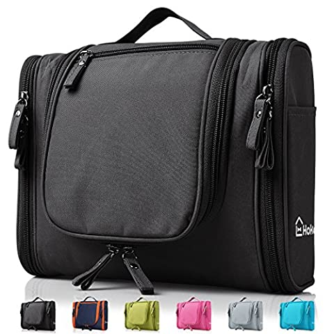 Heavy Duty Waterproof Hanging Toiletry Bag - Travel Cosmetic Makeup Bag for Women & Shaving Kit Organizer Bag for Men - Large Size: 26*11.5*21.5cm (Black)