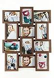 levandeo Holz Bilderrahmen Farbe: Nussbaum braun hochwertig verarbeitet für 12 Fotos 10x15cm mit Glasscheiben - Querformat und Hochformat Fotogalerie Collage Fotocollage Bildergalerie Fotorahmen
