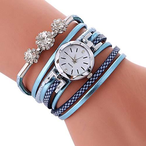 Uhren Damen Geflochten Armbanduhren Chenang Günstige Uhren Diamantbesetzte Wicklung um die Wasserdicht Beliebte Casual Analoge Quarz Uhr Luxus Armband Coole Uhren Lederarmband (Hellblau)