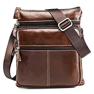 Koolertron hombre Bolso bandolera de piel tipo messenger bag marrón