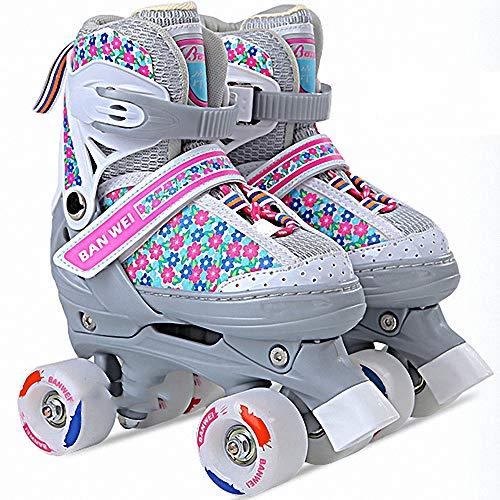 Miarui Kinder verstellbare Rollschuhe Zweireihige Rollschuhe Kinderschuhe mit Rollen Unisex-Kinder Rollschuhe für Kinder Jungen Mädchen,1,XS(27~30)