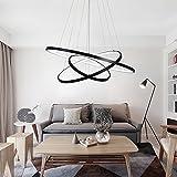 LED Esstisch Pendelleuchte Modern 3 Ring Rund Design, Hängeleuchte für Wohnzimmer EsszimmerSchlafzimmer, Acryl und Eisen Lampe 72W Schwarz Weißes Licht 6000k Kronleuchter im Wohnbereich