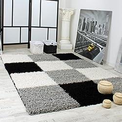 Paco Home Tapis Shaggy Longues Mèches Hautes Carreaux Gris Noir Blanc, Dimension:120x170 cm
