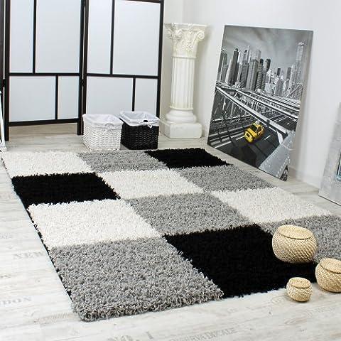 Alfombra Shaggy Pelo Alto Pelo Largo De Cuadros En Gris Negro Blanco, Grösse:120x170 cm